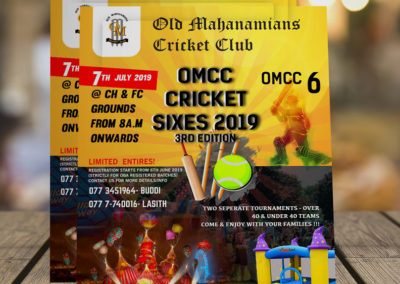 Old Mahanamiyan Cricket Club Flyer Design
